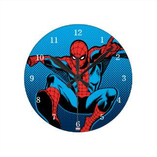 Retro Spider-Man Web Shooting Round Clock