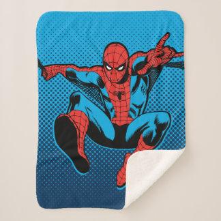 Retro Spider-Man Web Shooting Sherpa Blanket