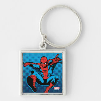 Retro Spider-Man Web Shooting Silver-Colored Square Keychain