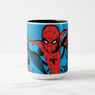 Retro Spider-Man Web Shooting Two-Tone Coffee Mug