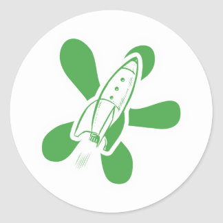 Retro Splat Rocket White Green Classic Round Sticker