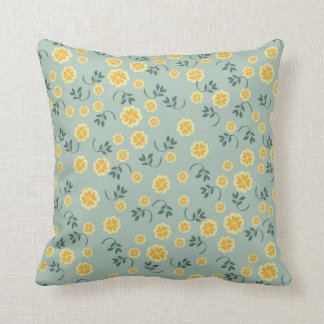 Retro spring buttercup floral flower girly pattern throw pillow
