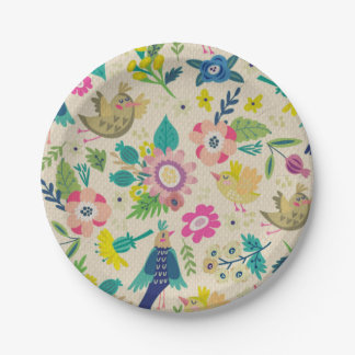 Retro Spring floral Paper Plates