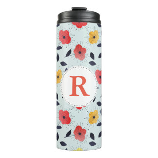 Retro Spring Flowers with Initial Thermal Tumbler