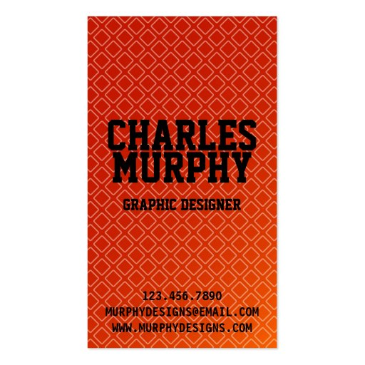 Retro Square Pattern - Red Business Card Templates