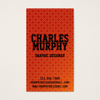 Retro Square Pattern - Red Business Card
