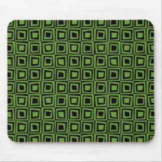 Retro Squares - Avocado Green on Black Mouse Pad