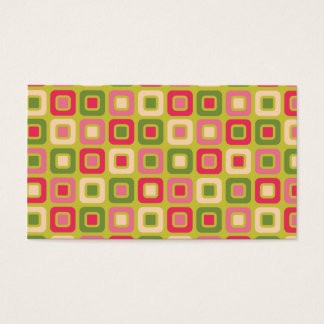 Retro Squares -Pink and Green- Business Card
