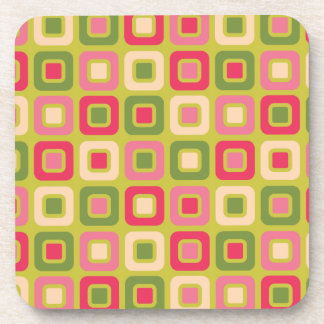 Retro Squares -Pink and Green- Drink Coaster