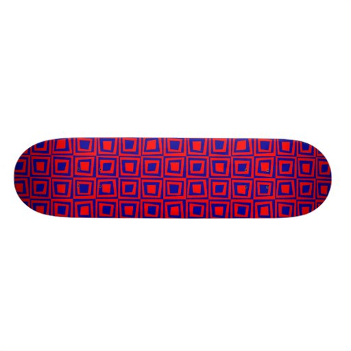 Retro Squares - Red on Navy Blue Skate Board Deck
