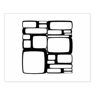 Retro Stacked Boxes Pattern Rubber Stamp