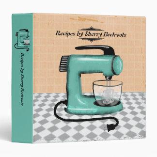Retro stand mixer cooking baking recipe cookbook vinyl binders
