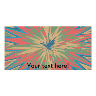Retro star abstract design personalized photo card