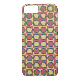 Retro star flowers amaranth red, yellow amber iPhone 7 case