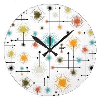 Retro Starbursts A Go-Go! Large Clock