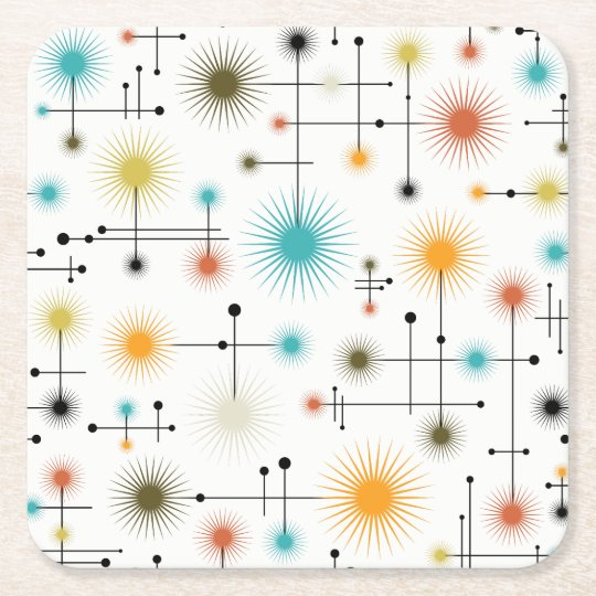 Retro Starbursts A Go-Go! Square Paper Coaster
