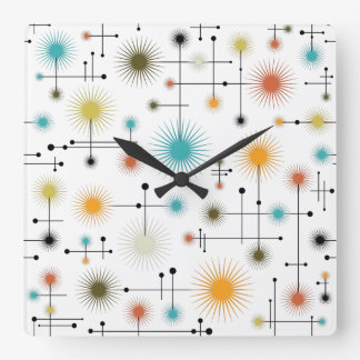 Retro Starbursts A Go-Go! Square Wall Clock