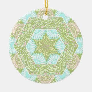 Retro stars pattern round ceramic ornament