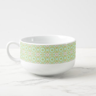 Retro stars pattern soup bowl with handle