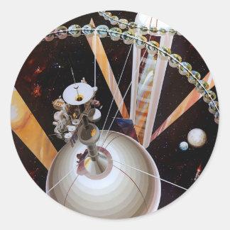 Rétro station spatiale de Sci fi vintage 'Concept Autocollants Ronds