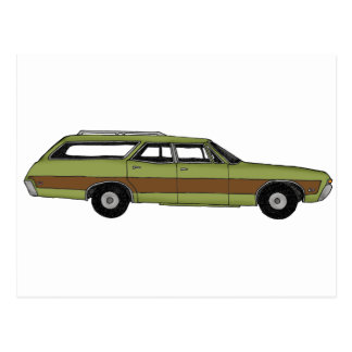 retro station wagon postcard