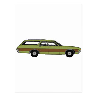 retro station wagon postcard