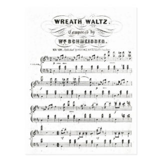 Retro staves of sheet music notes (vintage waltz) postcard