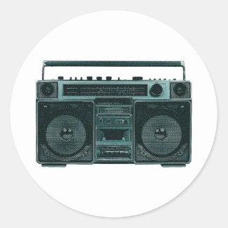retro stereo classic round sticker
