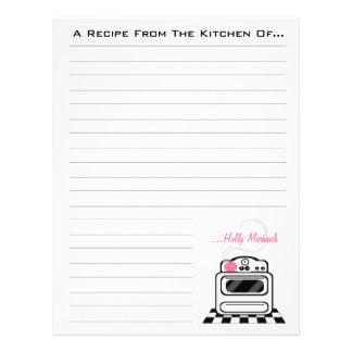 Retro Stove Pink Kitchen Recipe Paper Letterhead Template