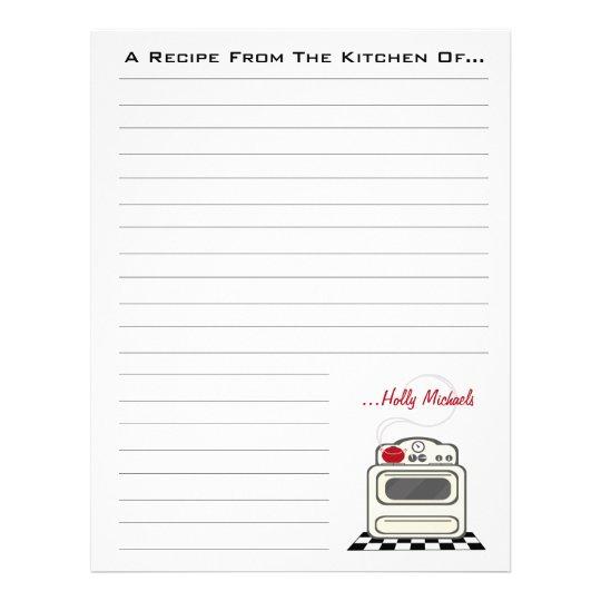 Retro Stove Red Kitchen Recipe Paper Customized Letterhead