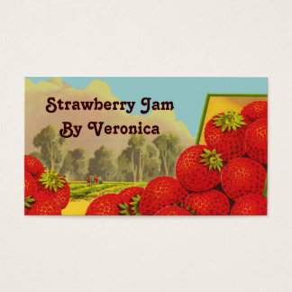 Retro Strawberry Art Recipe Tag Template Business  Business Card