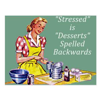 Retro Stressed is Desserts Spelled Backwards Postcard