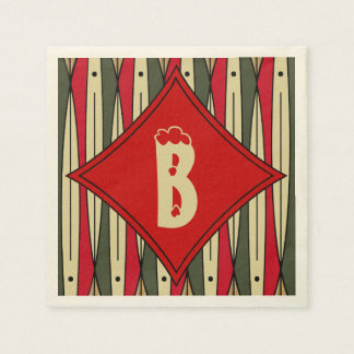 Retro String Art in Christmas Colors - Monogrammed Paper Napkins