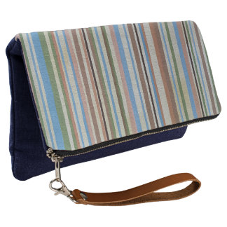 Retro Stripe Fold Over Clutch