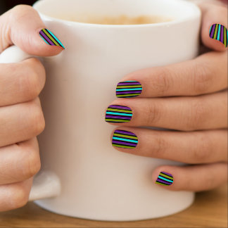 Retro Stripe in Bold Shades of Blue, Green, Purple Minx Nail Art
