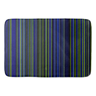Retro stripe lime green blue bathmat