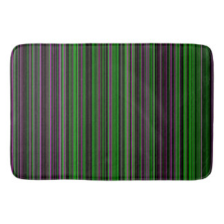 Retro stripe lime green purple bathmat