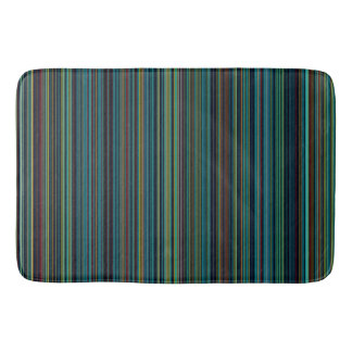 Retro stripe purple green blue brown bathmat