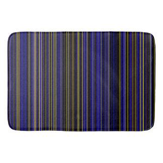 Retro stripe purple yellow blue brown bathmat
