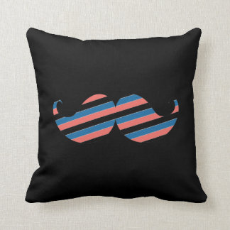 Retro Striped Handlebar Mustache Throw Pillow