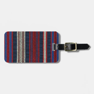 Retro Striped Red White and Blue Hippy Stripes Luggage Tag