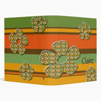 Retro Stripes and Flowers Vinyl Binders