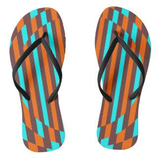 Retro stripes (baby blue, brown, orange) flip flops