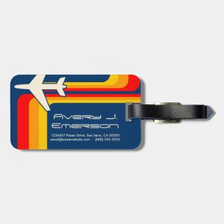 retro stripes luggage tag