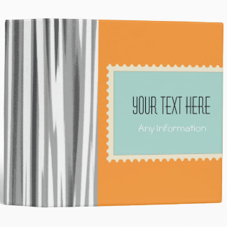 Retro Stripes. Plain Orange Background 3 Vinyl Binder