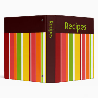 Retro Stripes Recipe Binder