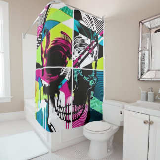 retro stripes skull block shower curtain