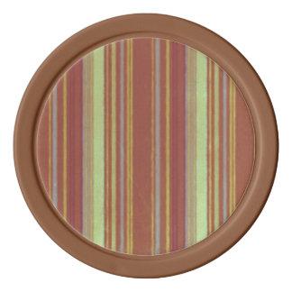 Retro Stripes Yellow Rust Brown Poker Chips Set