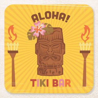 Retro Style Aloha Tiki Bar Square Paper Coaster