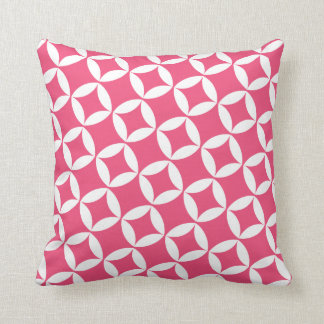 Retro Style Atomic Star Pattern in Berry Pink Throw Pillow